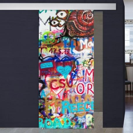"""Schiebetür 1056-2 """"Graffiti Schnecke"""" Digitaldruck- Schiebetüren"""