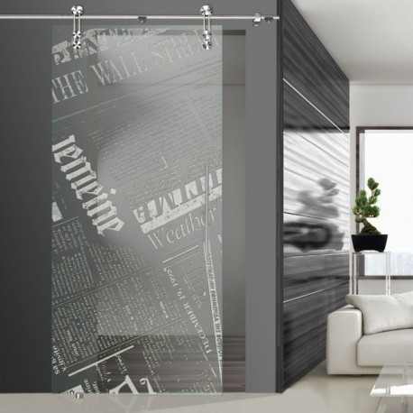 Glasschiebetür SLD 009 F 'Newspaper' Schiebetüren mit Lasergravur