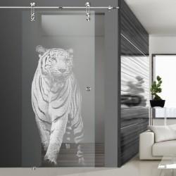 Glasschiebetür SLD 012 F 'Panthera tigris'