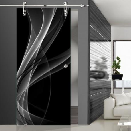 Glasschiebetür SLD 004 SW 'Nebel' Schiebetüren mit Lasergravur