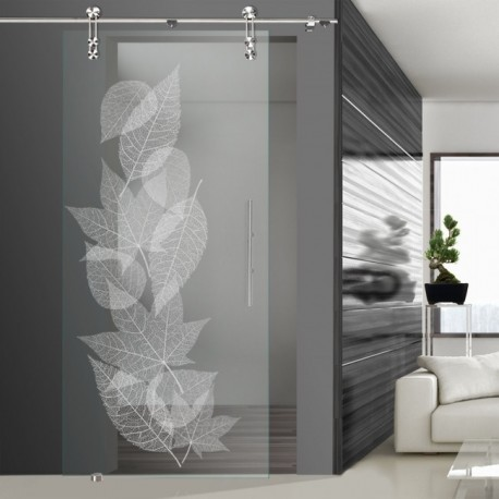 Glasschiebetür SLD 018 F 'Laub' Schiebetüren mit Lasergravur