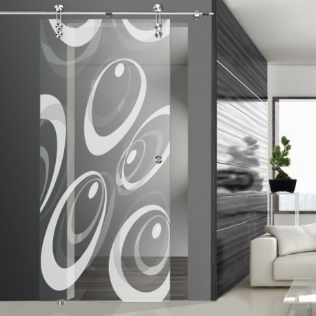 Glasschiebetür SLD 022 F 'Ovale' Schiebetüren mit Lasergravur