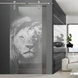 Glasschiebetür SLD 017 F 'König der Tiere'