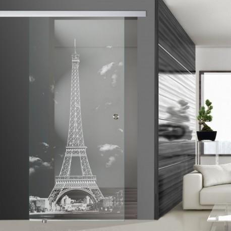 Glasschiebetür SLD 019 F 'Eiffelturm - Paris' Schiebetüren mit Lasergravur