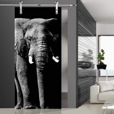 Glasschiebetür SLD 007 SW 'Elefant' Schiebetüren mit Lasergravur
