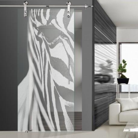 Glasschiebetür SLD 016 F 'Zebra' Schiebetüren mit Lasergravur