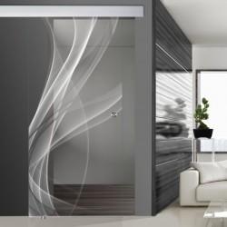 Glasschiebetür SLD 004 F 'Nebel' Schiebetüren mit Lasergravur