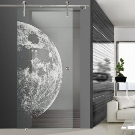 Glasschiebetür SLD 008 F 'Moon' Schiebetüren mit Lasergravur