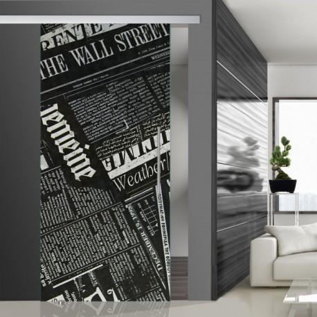 Glasschiebetür SLD 009 SW 'Newspaper' Schiebetüren mit Lasergravur