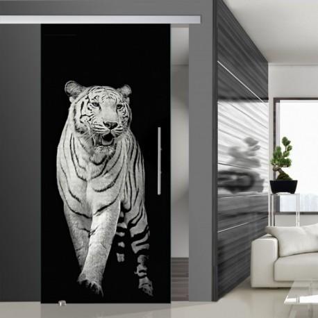 Glasschiebetür SLD 012 SW 'Panthera tigris' Schiebetüren mit Lasergravur