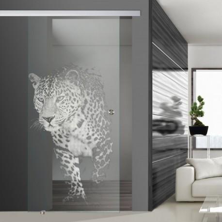 Glasschiebetür SLD 006 F 'Jaguar' Schiebetüren mit Lasergravur