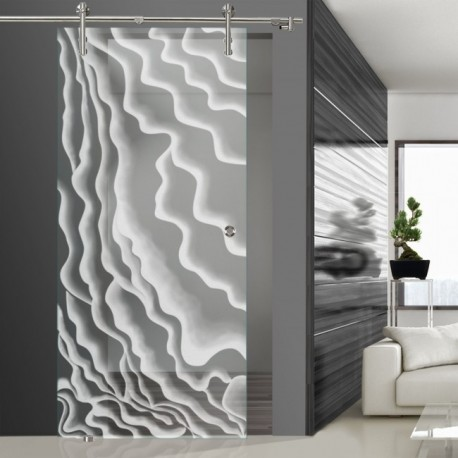 Glasschiebetür SLD 015 F 'Wasserfall' Schiebetüren mit Lasergravur