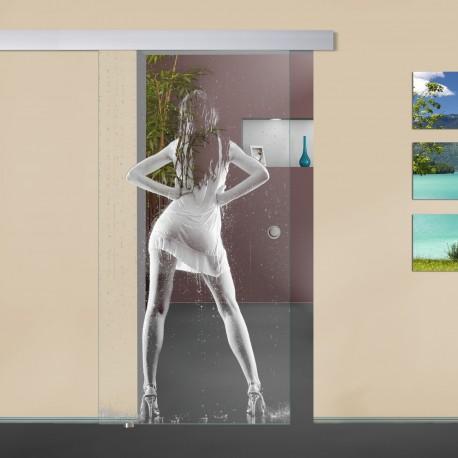 """Glasschiebetür """"Regen"""" 6001-F mit ALU60 Schiebetüren mit Lasergravur"""