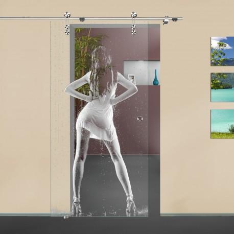 """Glasschiebetür """"Regen"""" 6001-F mit V1000-D Schiebetüren mit Lasergravur"""