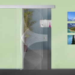 """Glasschiebetür """"Funnel"""" 6007-F mit ALU60 Schiebetüren mit Lasergravur"""