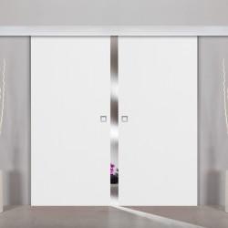 2flügliche Holzschiebetür Dekor Structure White
