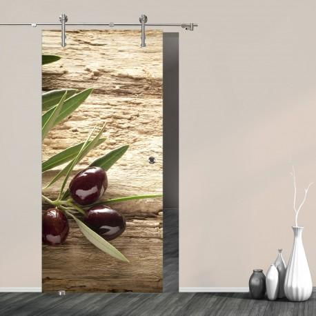 """Schiebetür 9000 """"Olive"""" mit V1000 Digitaldruck-Schiebetüren"""