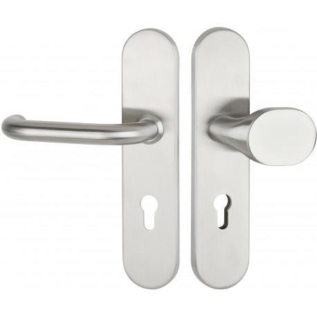 BASIC 01  Edelstahl-sat. Schutzbeschlag für Wohnungseingangstüren mit Feuerschutz - Hermat