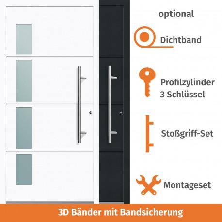 """Vollaluminium Haustür """"Berlin"""" in Weiss - Quadroform"""