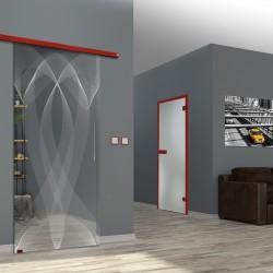 """Lasergravur-Glasschiebetür """"Schleife"""" mit Muto Comfort M60 Schiebesystem - Dorma"""