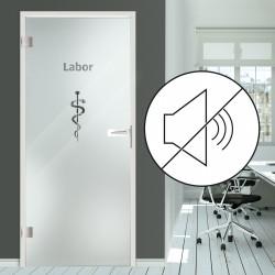 """Schallschutz Ganzglastür Klarglas mit SK2 nach DIN 4109 und Dekor """"Labor"""""""