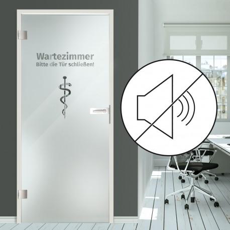 """Schallschutz Ganzglastür Klarglas mit Dekor """"Wartezimmer"""""""
