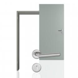 Innentür-Komplettset Silbergrau CPL Tür mit runder Zarge und Drücker