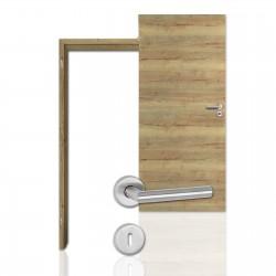 Innentür-Komplettset Cross Eiche Vintage CPL Tür mit runder Zarge und Drücker