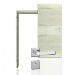 Innentür-Komplettset Cross Eiche Nordic CPL Tür mit runder Zarge und eckigem Drücker
