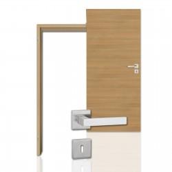 Innentür-Komplettset Cross Eiche Roheffekt CPL Tür mit runder Zarge und eckigem Drücker