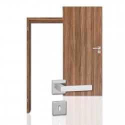 Innentür-Komplettset Nussbaum CPL Tür mit runder Zarge und eckigem Drücker