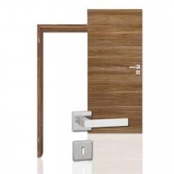 Innentür-Komplettset Cross Nussbaum CPL Tür mit runder Zarge und eckigem Drücker