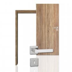 Innentür-Komplettset Sonoma Eiche CPL Tür mit runder Zarge und eckigem Drücker