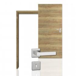 Innentür-Komplettset Cross Eiche Vintage CPL Tür mit runder Zarge und eckigem Drücker