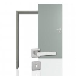 Innentür-Komplettset Silbergrau CPL Tür mit runder Zarge und eckigem Drücker
