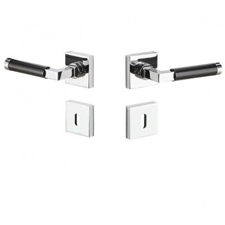 Quadratrosette Lubi Chrom poliert & schwarz - für Holztüren