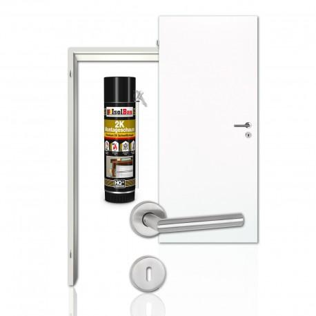 Westag & Getalit Innentür Komplettset in RAL 9010 mit CPL Zarge, Zimmertür und Rosettengarnitur