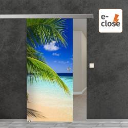 """Fotodruck Glasschiebetür """"Karibik"""" mit aut. E-Close System """"E-Close75"""" Digitaldruck E-Close75 - Fotodruck"""