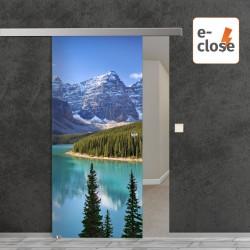 """Fotodruck Glasschiebetür """"Kanada"""" mit aut. E-Close System """"E-Close75"""" Digitaldruck E-Close75 - Fotodruck"""