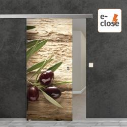 """Fotodruck Glasschiebetür """"Oliven"""" mit aut. E-Close System """"E-Close75"""" Digitaldruck E-Close75 - Fotodruck"""