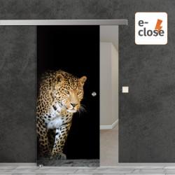 "Fotodruck Glasschiebetür ""Jaguar"" mit aut. E-Close System ""E-Close75"" Digitaldruck E-Close75 - Fotodruck"