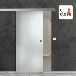 "HDS Glasschiebetür ""Siebdruck Dark"" mit aut. E-Close System ""E-Close75"" blickdicht"