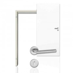 Innentür Sparset Klassik Weiß (RAL 9010) WestaLack Tür mit runder Zarge und Drücker Westag & Getalit