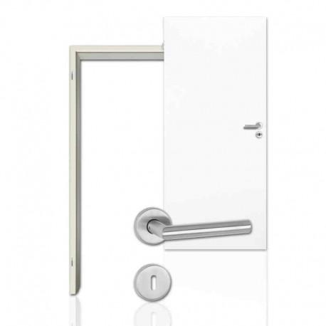 Innentür Sparset Klassik Weiß (RAL 9010) WestaLack Tür mit runder Zarge und Drücker Westag & Getalit CPL-Komplettsets