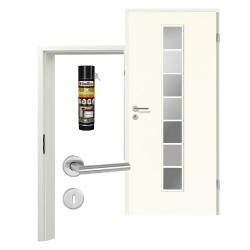 Innentür-Set Klassik Weiß A 223 Typ LA-1.1 Port Sprosse Zimmertür mit Zarge und Drücker Westag & Getalit