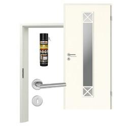 Innentür-Set Klassik Weiß A 223 Typ LA-1. 2 Port Sprosse Zimmertür mit Zarge und Drücker Westag & Getalit