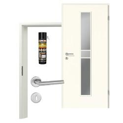 Innentür-Set Klassik Weiß A 223 Typ LA-1. 3 Port Sprosse Zimmertür mit Zarge und Drücker Westag & Getalit