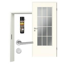 Innentür-Set Klassik Weiß A 223 Typ LA-1 Port Sprosse Zimmertür mit Zarge und Drücker Westag & Getalit