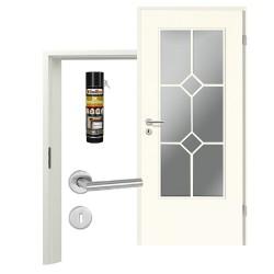Innentür-Set Klassik Weiß A 223 Typ LA-2 Sprosse Zimmertür mit Zarge und Drücker Westag & Getalit