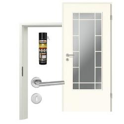 Innentür-Set Klassik Weiß A 223 Typ LA-3 Port Sprosse Zimmertür mit Zarge und Drücker Westag & Getalit